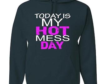 Hot Mess Hooded Sweatshirts-Printed