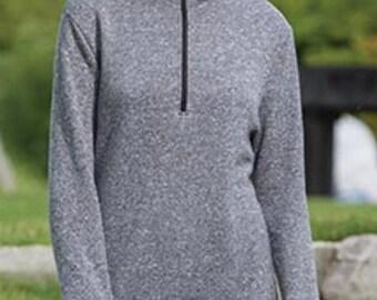 Monogrammed Ladies Mocktwist Fleece 1/4 Zip Hooded Jacket