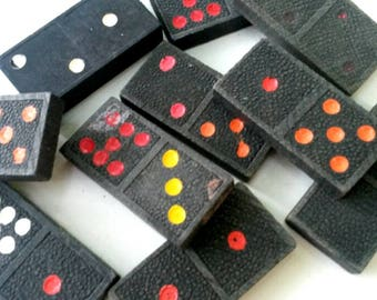 10 Vintage Wooden Mixed Dominoes with Colored Pips - Black Wood Domino Pieces Old With Embossed Back