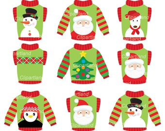 INSTANT Download.  Christmas ugly christmas sweater clip art. Ccs_5. Personal and commercial use.
