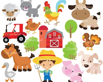 INSTANT DOWNLOAD. CF_67_farm. Farm animals clip art.  Personal and commercial use.