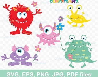 INSTANT Download. Monsters clip art. Svg, png, jpg, eps, pdf. Cms_1. Personal and commercial use.