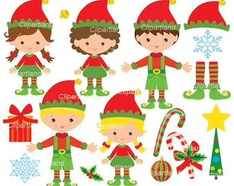 INSTANT Download. Christmas elves clip art.  CCh_21. Personal and commercial use.
