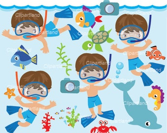 INSTANT DOWNLOAD. Snorkeling boy 2. Personal and commercial use.