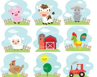 INSTANT Download CF_71_Farm. Farm animal clip art. Personal and commercial use.