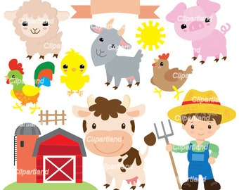 INSTANT Download CF_74_Farm. Farm animal clip art. Personal and commercial use.