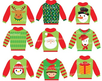 INSTANT Download. Christmas ugly christmas sweater clip art. Ccs_2. Personal and commercial use.