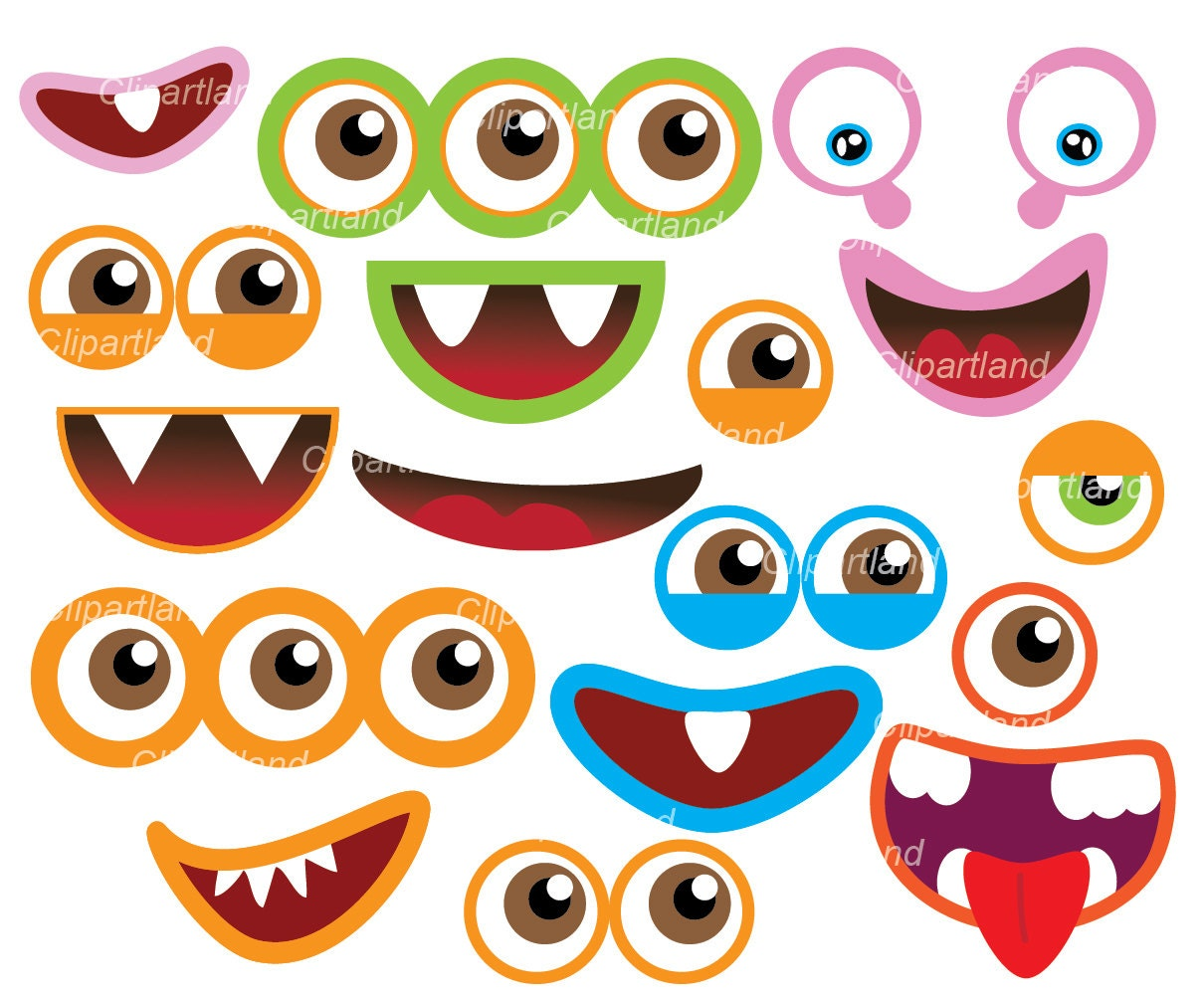 instant download monster eyes and monster mouths clip art etsy rh etsy com Monster Mouth Clip Art monster eyes and mouth clipart