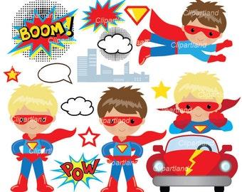 INSTANT Download. CSUPER_17_Superhero. Superhero boy clip art. Personal and commercial use.