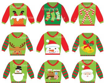 INSTANT Download. Christmas ugly christmas sweater clip art. Ccs_4. Personal and commercial use.