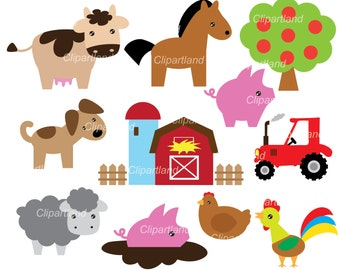 INSTANT Download.  Farm animals clip art.  CF_42_farm. Personal and commercial use.