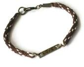 LOVE bracelet - kumihimo braid - chocolate brown and ivory