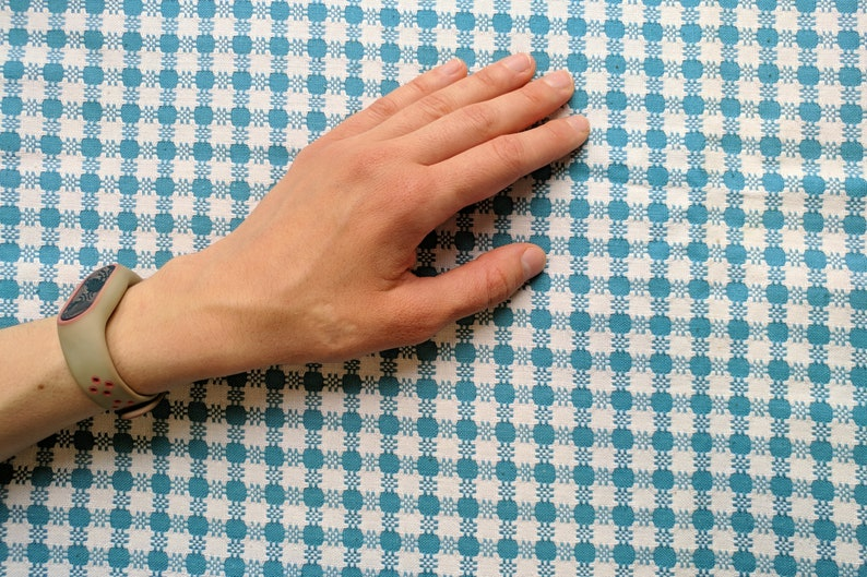 Vintage cotton fabric 3.1 yards in 1 listing blue white 1980s hippie gipsy boho checked