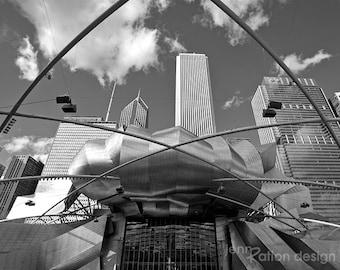 "Chicago Photography, Skyline, Architecture, Frank Gehry, Pritzker Pavilion, Millennium Park, Black and White Photo, Art 8""x10"" Photo Print"