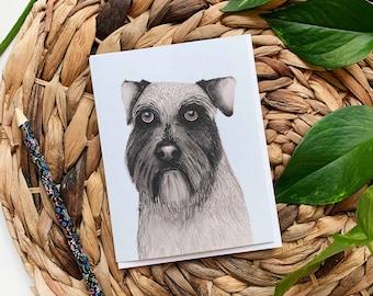 Schnauzer Greeting Card, Schnauzer Thank You Card, Dog Greeting Card, Schnauzer Birthday Card, Blank Dog Card, Dog Birthday Card, Dog Card
