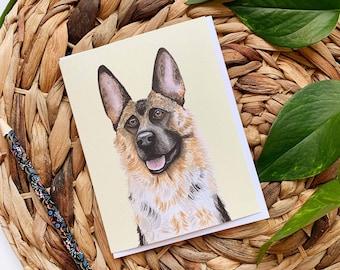 German Shepherd Greeting Card, German Shepherd Thank You Card, Dog Greeting Card, German Shepherd Birthday Card, Blank Dog Card