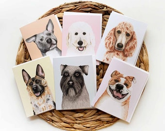 Dog Breed Greeting Cards Assorted Set of 6, Blank Dog Greeting Cards, Dog Birthday Cards, Dog Thank You Cards, Dog Breed Cards, Dog Cards