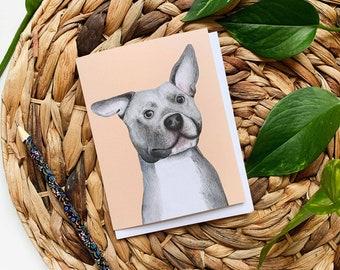Pitbull Greeting Card, Pitbull Thank You Card, Dog Greeting Card, Pitbull Birthday Card, Blank Dog Card, Dog Birthday Card, Dog Card