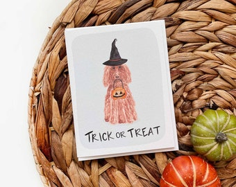 Goldendoodle Halloween Card, Dog Halloween Card, Funny Dog Halloween Card Ghost Dog Halloween Card, Dogs Dressed as Ghosts, Dogs in Costume