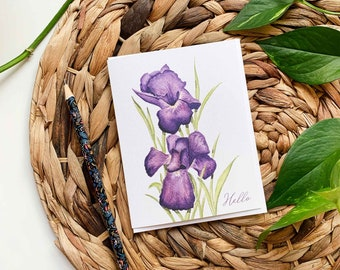 Iris Greeting Card, Floral Greeting Card, Iris Thank You Card, Purple Iris Birthday Card, Blank Floral Card, Floral Birthday Card