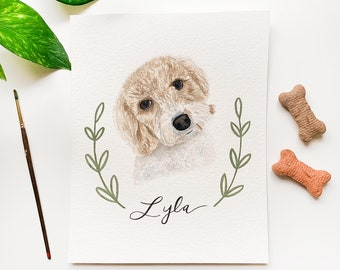 Pet Portrait, Pet Painting From Photo, Personalized Pet Portrait, Watercolor Pet Portrait, Pet Loss Gift, Pet Memorial Gift, Dog Gifts