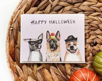 Dog Halloween Card, Halloween Card, Pitbull Halloween Card, Bulldog Halloween Card, German Shepherd Halloween Card, Funny Dog Halloween Card
