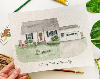 House Portrait, House Portrait From Photo, Custom House Painting, Housewarming Gift, Closing Gift, House Painting, Realtor Gift
