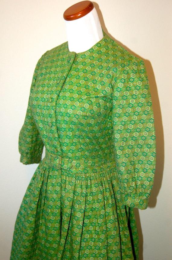 1950s Green Winter Dress