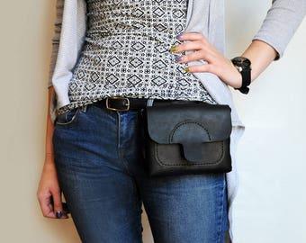 Leather belt bag. Black hip bag, festival bag