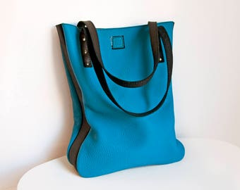 Leather tote bag, Womens shopping bag, Blue and black leather bag