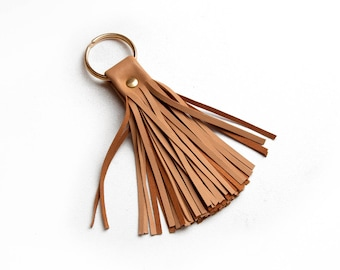 Leather Tassel Keychain, Camel tassel