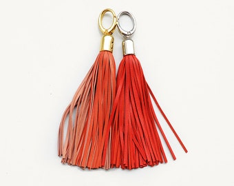 Leather Tassels, Orange long tassel