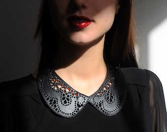 Leather lace collar necklace, Black Peter Pan detachable collar necklace