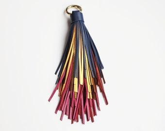 Large leather tassel keychain, Colorful tassel bag charm