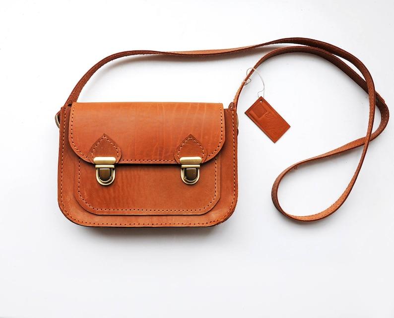 f9d25caa59cd Tan leather crossbody bag, Small brown messenger bag, Cross body shoulder  purse