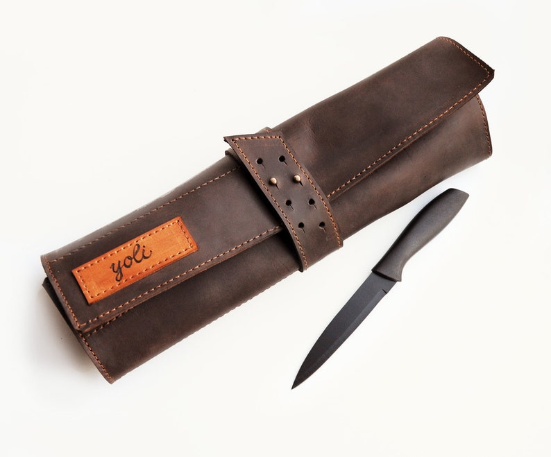 ad7cdd9780e Leather knife roll, Personalized chefs knife Case, Dark brown leather chefs  Roll