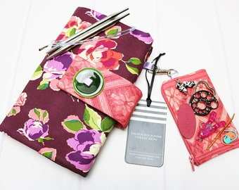 Floral Interchangeable Knitting Needle Case, Needle Organizer, Numbered Pockets, Knitting Project Bag, Needle Holder