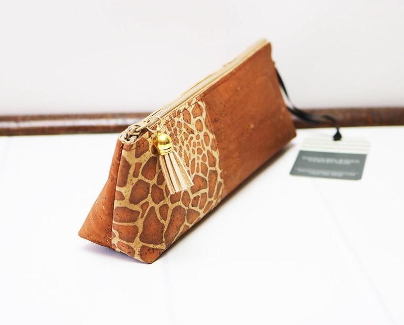 Pencil Case made with Giraffe Cork Fabric Vegan image 0