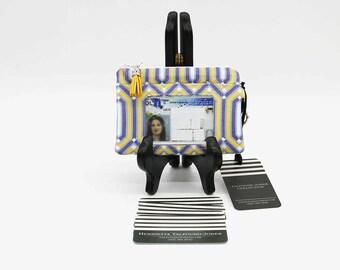 RFID Minimalist Wallet, Credit Card Holder, Geometric Polka Dot Fabric Womens Wallet, ID Holder Keychain, Zipper Change Purse