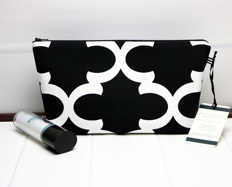 Medium Makeup Bag Cosmetic Bag or Wash Bag made with Black image 0