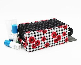 Travel Toilet Bag, Box Cosmetic Pouch, French Fleur de Lis Gingham Poppy Floral, Knitting Project Bag, Ladies Toiletry Bag, Womens Dopp Kit