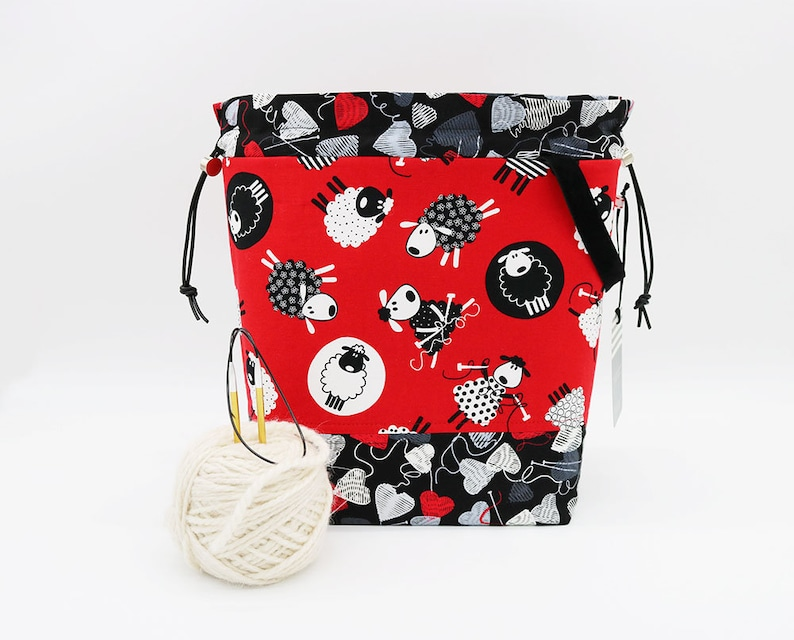 Large Drawstring Knitting Project Bag Crochet Tote Yarn image 0