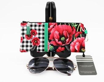 Zipper Glasses Case, Readers Sunglasses, Gingham Poppy Stripe, Fabric Eyeglass Case, Soft Glasses Case, Spectacles Holder