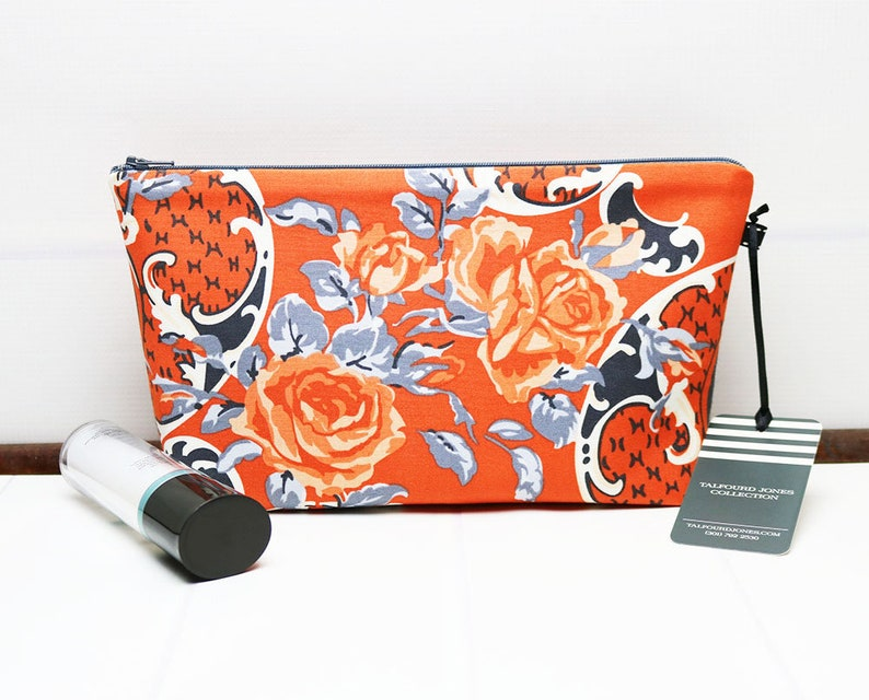Medium Makeup Bag or Wash Bag with Orange and Gray Flowers image 0