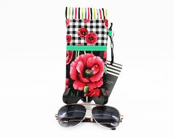 Fabric Glasses Case, Flex-Frame, Gingham Floral Poppy, Black Red White, Pinch Open Close Readers Pouch, Sunglasses, Reading Glasses Case