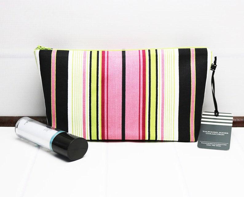 Travel Makeup Pouch  Stripe Makeup Bag  Ladies Toiletry Bag image 0