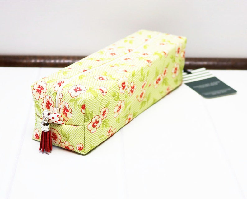 Makeup Brush Bag made using a Green Gingham Floral Fabric image 0