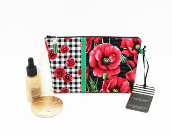 Small Makeup Holder, Zipper Pouch, Travel Cosmetic Bag, Gingham Floral Poppy Stripe Fabric, Knitting Notions Case, Makeup Organizer