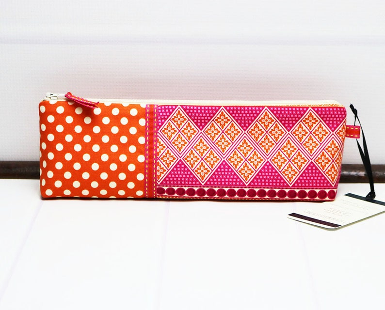Orange Pencil Case  Fabric Zipper Pouch  Long Zipper Pouch  image 0
