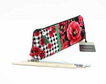 Makeup Brush Holder with Flat Base, Floral Pencil Case, Makeup Storage, Fabric Zipper Pouch, Notions Pouch, Long Zipper Bag